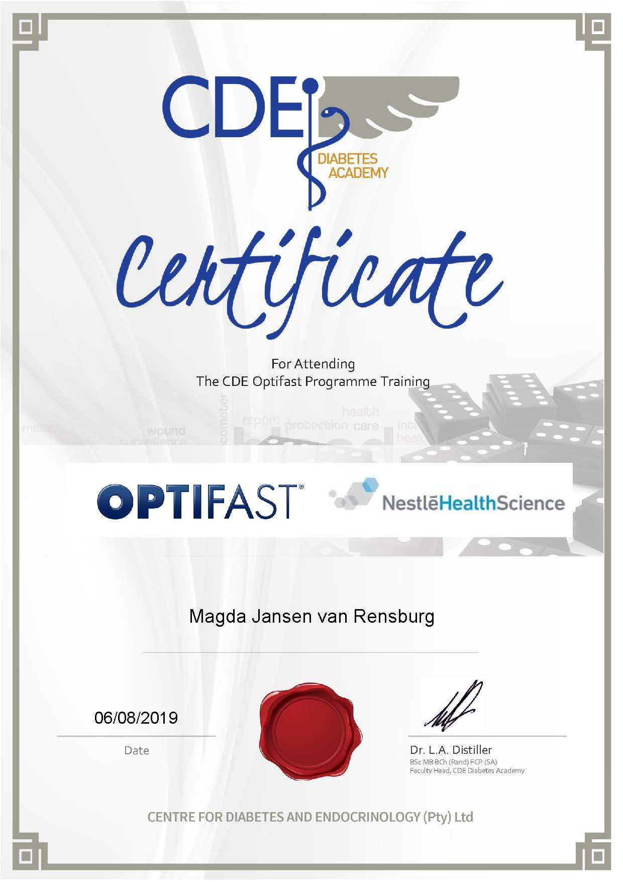 registered optifast dietician
